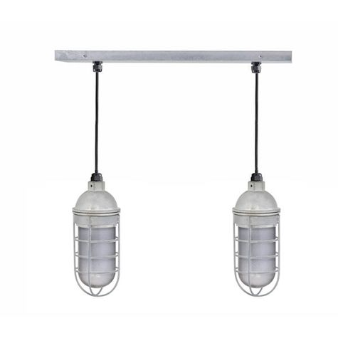 The Insider 2-Light Chandelier, 975-Galvanized, No Shade, WGG-Wire Guard, SMK-Smoke Crackle Glass