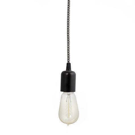 The Downtown Minimalist Cord Pendant, 100-Black, SBK-Standard Black Cord | Nostalgic Edison-Style 1890 Era 40 Watt Light Bulb