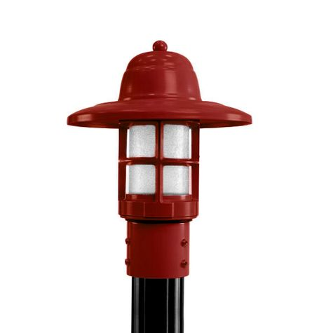 Atomic Industrial Guard Post Mount, 400-Barn Red, HCR-Honey Crackle Glass, Smooth Direct Burial Pole, 100-Black
