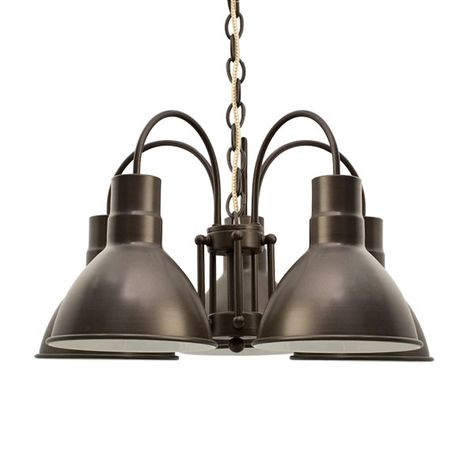The Cairo 5-Light Chandelier, 600-Bronze, CSGW-Gold & White Cloth Cord