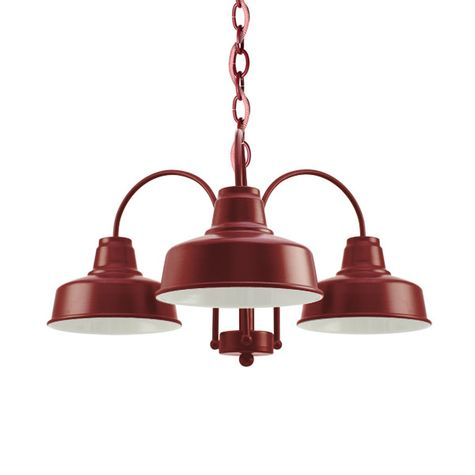 The Calico 3-Light Chandelier, 400-Barn Red, CRZ-Red Chevron Cord