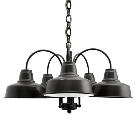 The Calico 5-Light Chandelier, 100-Black, CSBB-Black & Brown Cloth Cord