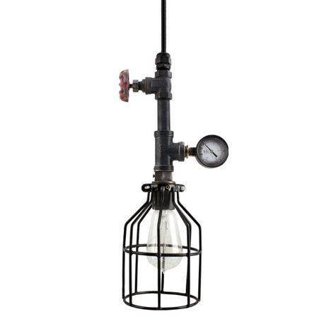 The Verne Machine Age Pendant   Wire Cage, Edison Style 1890 Era Bulb