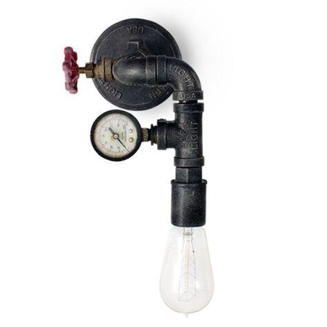 Victoria Machine Age Sconce, Edison Style 1890 Era Bulb