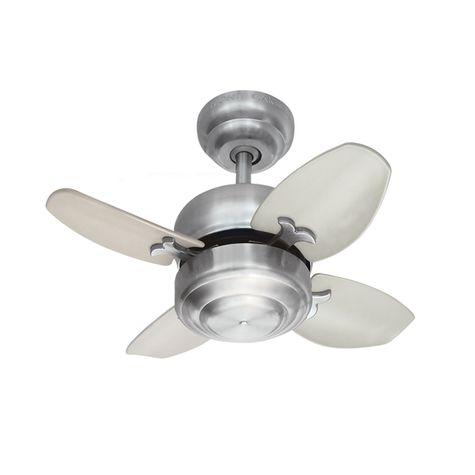 Modi Mini Ceiling Fan, Brushed Steel with Silver Blades