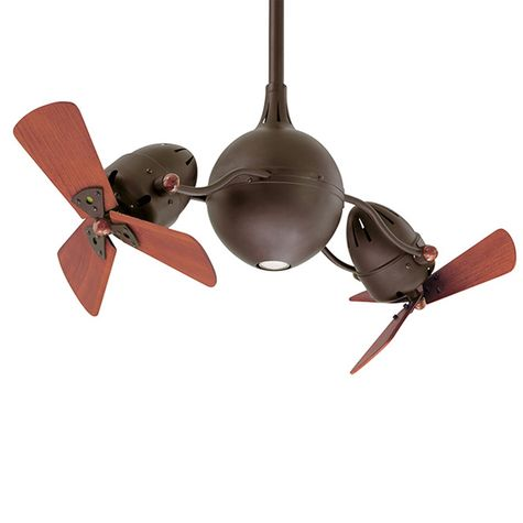 Reina Dual Ceiling Fan, Textured Bronze, Wood Blades