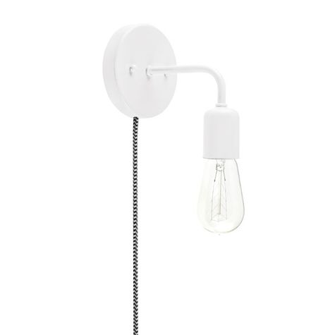 Downtown Minimalist Plug-In Sconce, 200-White, CSBW-Black & White Cloth Cord, 1890 Era 40w Edison-Style Bulb