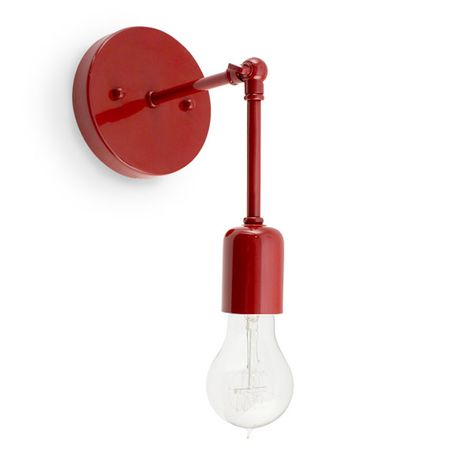 The Downtown Minimalist Knuckled Sconce, 400-Barn Red, Nostalgic Edison-Style 1890 Era Victorian 40W Bulb