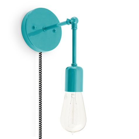 The Downtown Minimalist Knuckled Plug-In Sconce, 390-Teal, CSBW-Black & White Cloth Cord, Nostalgic Edison-Style 1890 Era 40W Bulb