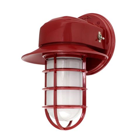 Streamline Industrial Guard Sconce, 400-Barn Red, Flared Shade, CGG-Standard Cast Guard, FST-Frosted Glass, On/Off Toggle Switch