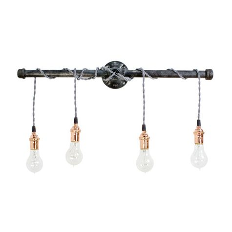 Lang 4 Light Wall Light, Sockets in Copper with No Switch, TBW-Black & White Chevron Twist Cord, 1890 Era Edison Bulbs