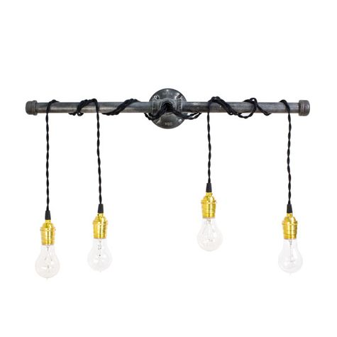Lang 4 Light Wall Light, Sockets in Brass with No Switch, TBK-Black Cotton Twist Cord, Victorian 25W Edison Bulbs