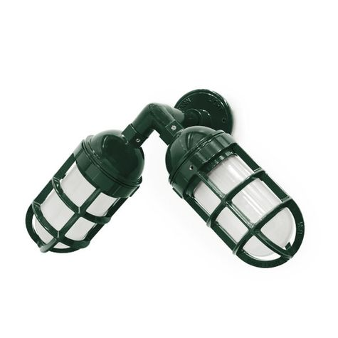 Atomic Topless Dual Sconce, 300-Dark Green, FST-Frosted Glass, TGG-Heavy Duty Cast Guard