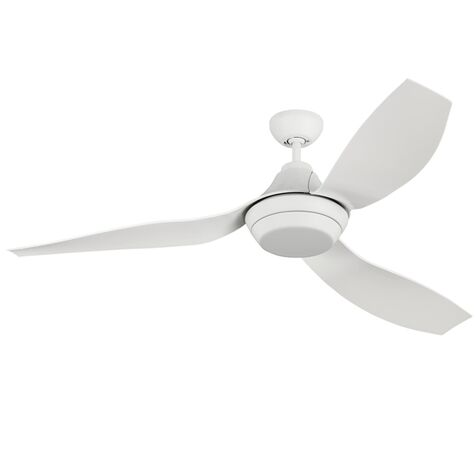 Lugo LED Ceiling Fan, Rubberized White, Shown with Finishing Cap