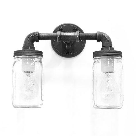 The Westerfeld 2-Light Ball Jar Sconce, Edison Style 1890 Era 40W Bulbs