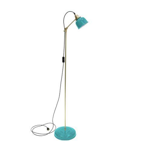 Fargo Floor Lamp, 390-Teal, Brass Stem, SBK-Standard Black Cord