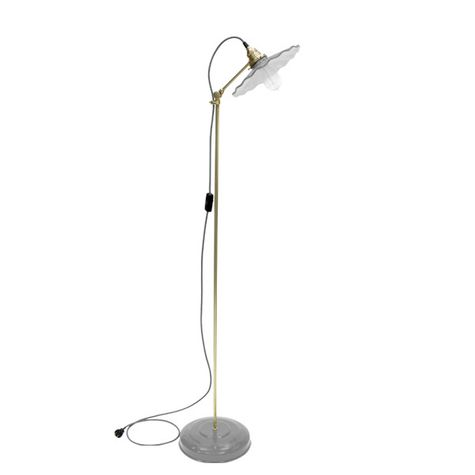 Fluted Shade Floor Lamp, 800-Industrial Grey, Brass Stem, CSGW-Gold & White Cloth Cord, Nostalgic Edison 1890 Era 40W Bulb
