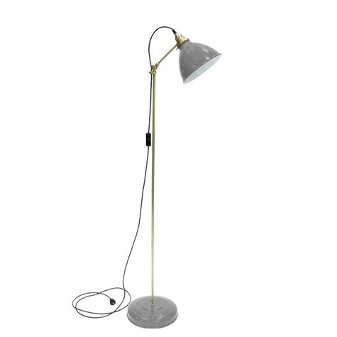 Getty Floor Lamp, 800-Industrial Grey, Brass Stem, SBK-Standard Black Cord
