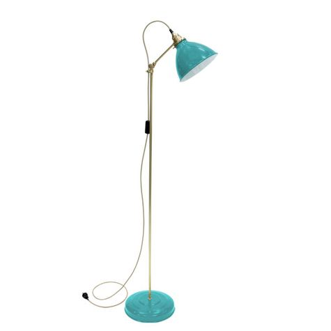 Getty Floor Lamp, 390-Teal, Brass Stem, CSBW-Black & White Cloth Cord