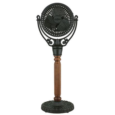 Santiago Pedestal Floor Fan, Black, Carved Post