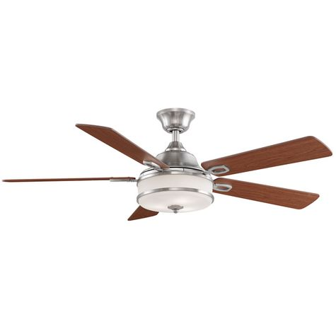 Soloman Ceiling Fan, Brushed Nickel with Reversible Cherry/Dark Walnut Blades, Cherry Side Showing