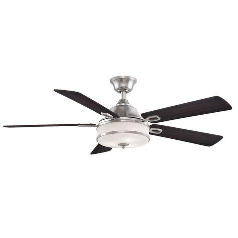 Soloman Ceiling Fan, Brushed Nickel with Reversible Cherry/Dark Walnut Blades, Dark Walnut Side Showing