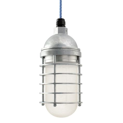 Static Ring LED Pendant, 975-Galvanized, FST-Frosted Glass, CSUW-Blue & White Cloth Cord