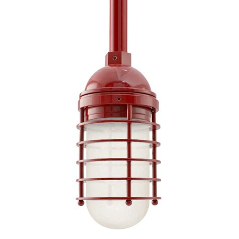 Static Ring LED Stem Mount, 400-Barn Red, FST-Frosted Glass, 3/4 Stem