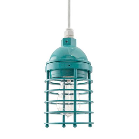 Static Ring Pendant, 390-Teal, No Glass, SWH-Standard White Cord, Nostalgic Edison 1890 Era Bulb