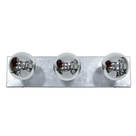 Vanity Strip Light, 3-Light, 975-Galvanized, Half-Chrome Bulbs