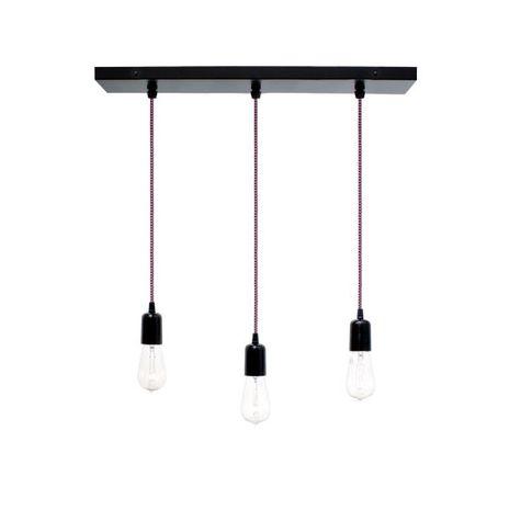 3-Light Pendant Chandelier, 100-Black, CSBP-Pink & Black Cloth Cord, Edison-Style 1910 Era Bulbs