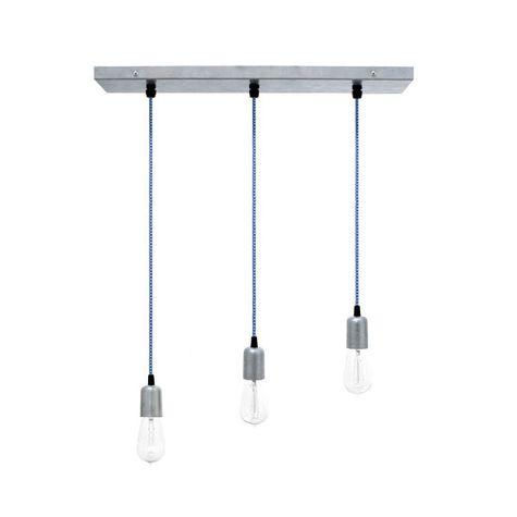 3-Light Pendant Chandelier, 975-Galvanized, CSUW-Blue & White Cloth Cord, Edison-Style 1910 Era Bulbs