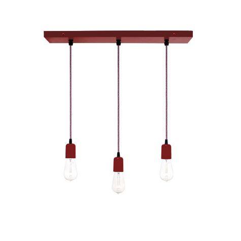 3-Light Pendant Chandelier, 400-Barn Red, CSRW-Red & White Cloth Cord, Edison-Style 1910 Era Bulbs