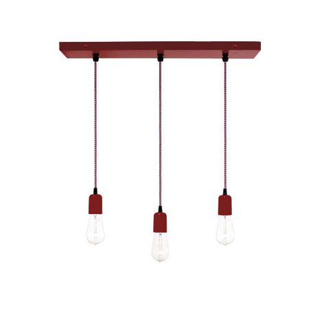 3-Light Pendant Chandelier, 400-Barn Red, CSRW-Red & White Cloth Cord, Edison-Style 1910 Era Bulbs