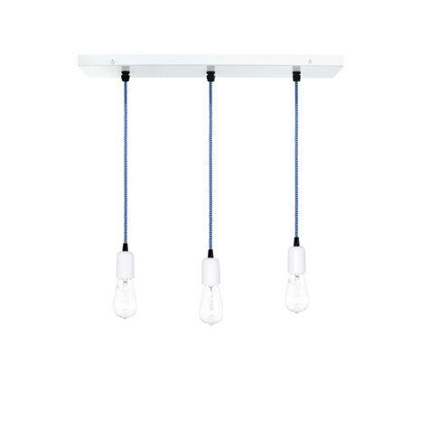 3-Light Pendant Chandelier, 200-White, CSUW-Blue & White Cloth Cord, Edison-Style 1910 Era Bulbs