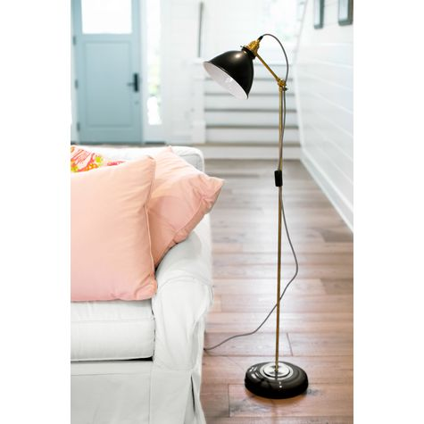 Getty Floor Lamp, 100-Black, Brass Stem, CSBW-Black & White Cloth Cord