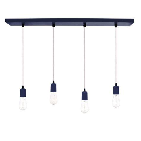 4-Light Pendant Chandelier, 705-Navy, SWH-Standard White Cord, Edison-Style 1890 Era Bulbs