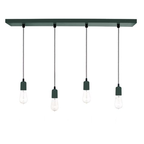 4-Light Pendant Chandelier, 300-Dark Green, CSBW-Black & White Cloth Cord, Edison-Style 1890 Era Bulbs