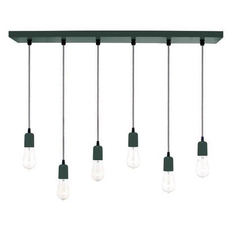 6-Light Pendant Chandelier, 300-Dark Green, CSBW-Black & White Cloth Cord, Edison-Style 1890 Era Bulbs