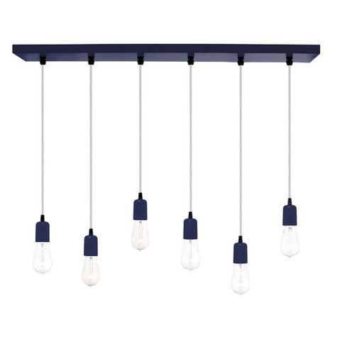 6-Light Pendant Chandelier, 705-Navy, SWH-Standard White Cord, Edison-Style 1890 Era Bulbs