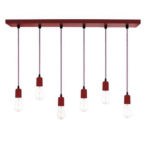 6-Light Pendant Chandelier, 400-Barn Red, CSRW-Red & White Cloth Cord, Edison-Style 1890 Era Bulbs