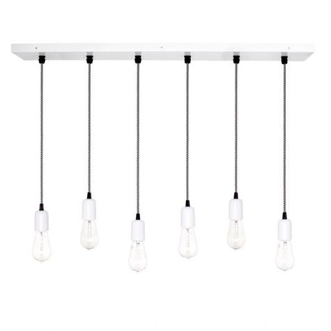 6-Light Pendant Chandelier, 200-White, CSBW-Black & White Cloth Cord, Edison-Style 1890 Era Bulbs