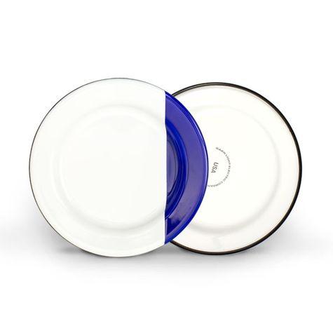 Enamelware Dipped Plates, 750-Cobalt