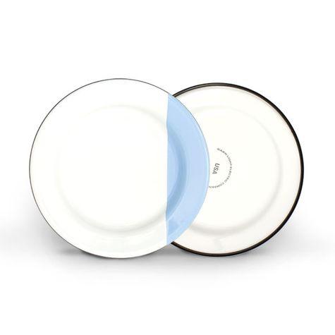 Enamelware Dipped Plates, 765-Delphite