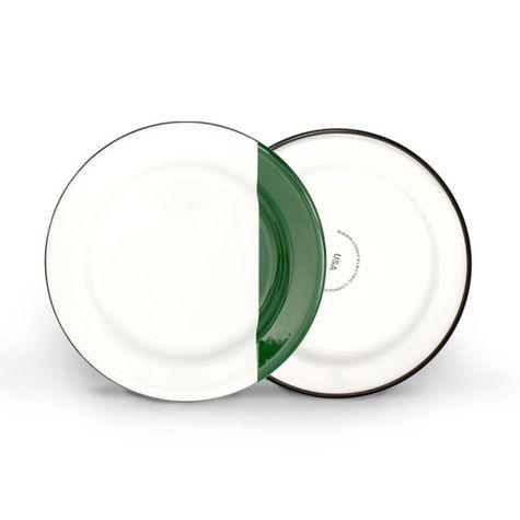 Enamelware Dipped Plates, 350-Vintage Green