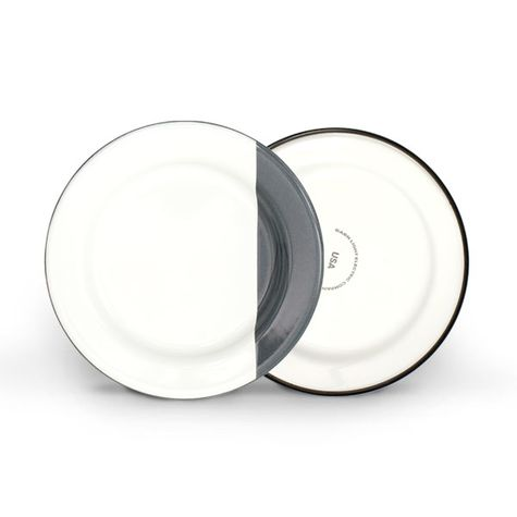 Enamelware Dipped Plates, 850-Graphite