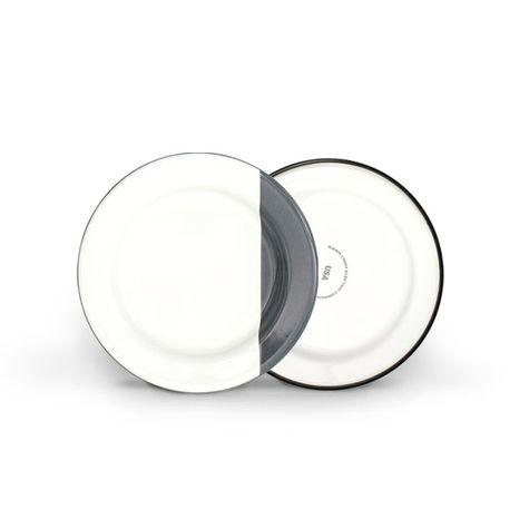 Enamel Dipped Dessert Plate, 850-Graphite