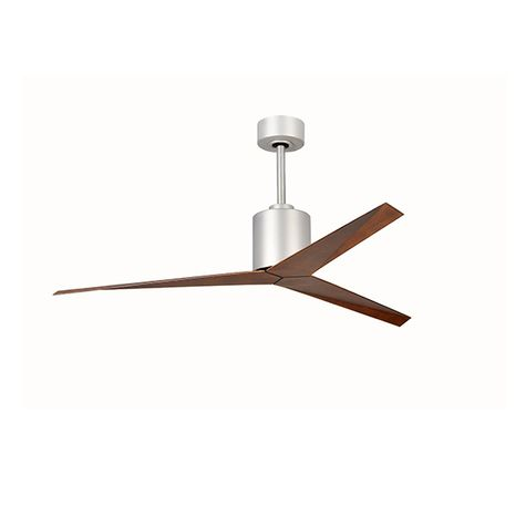 The Astra Wet Location Ceiling Fan, Brushed Nickel with Walnut Blades