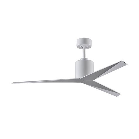 The Astra Wet Location Ceiling Fan, White with Brushed Nickel Blades
