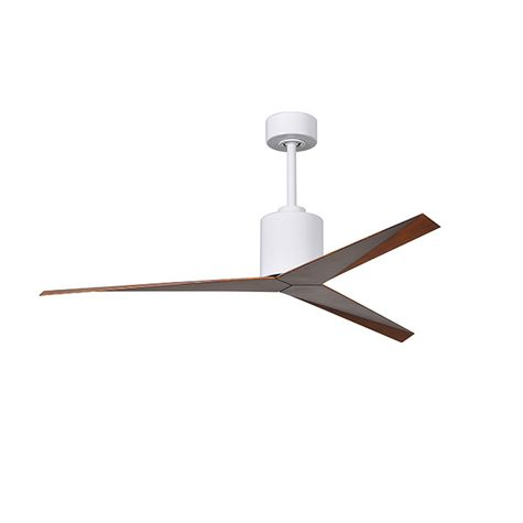 The Astra Wet Location Ceiling Fan, White with Walnut Blades